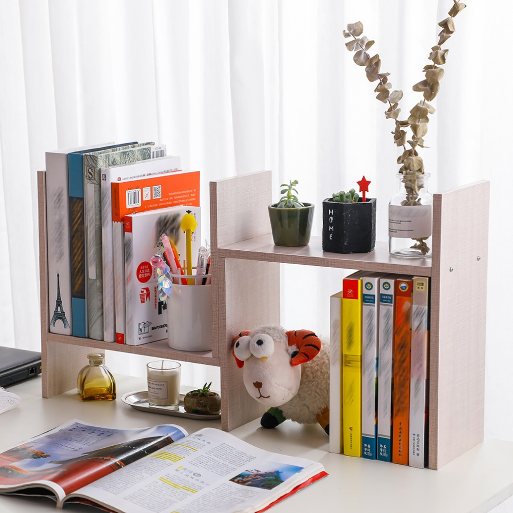 Wood Desktop Bookcase Adjustable Desk Storage Rack Table Book Shelf Home Office Stand Bookcase Display Rack DQ9152 2/ 3