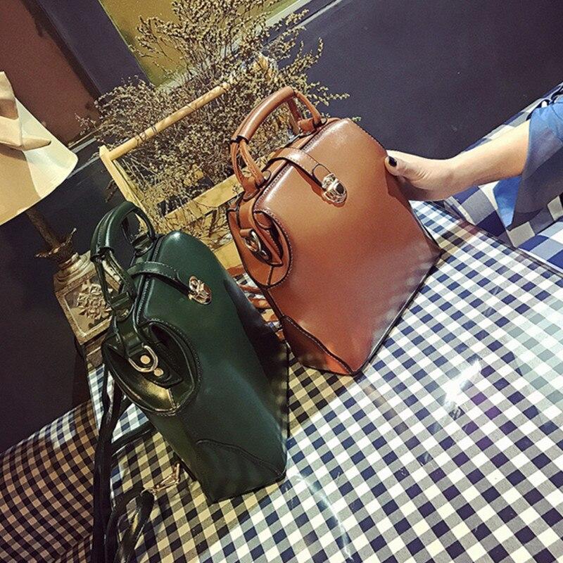 Spring PU European And American Style Bag New Solid Vintage Doctor Bag Handbag Casual Dual Fashion Single shoulder Crossbody Bag