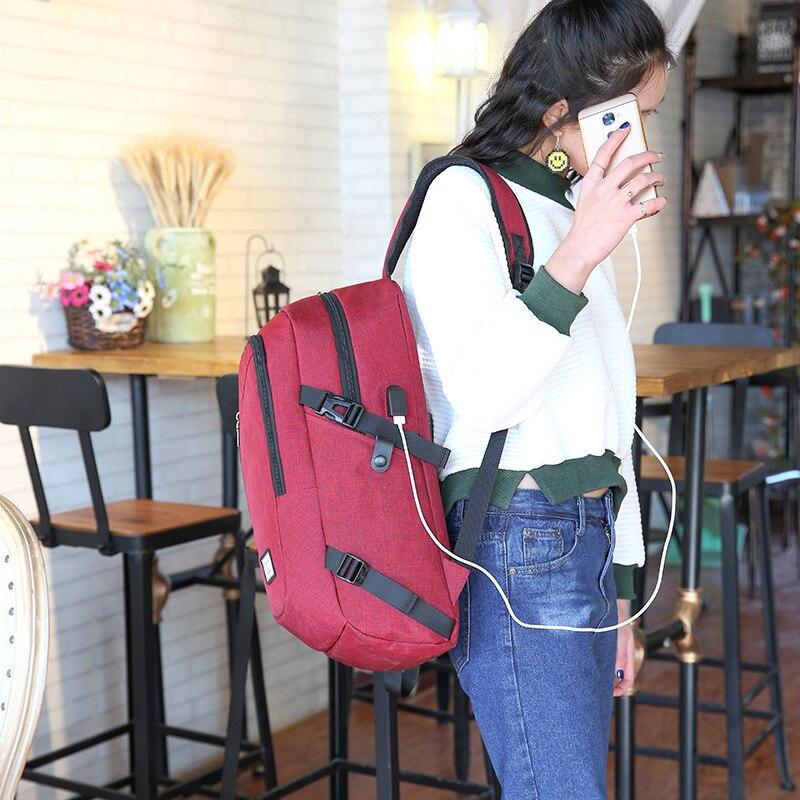 Da grigio Portatile blu Scuola Unisex Affari Computer Impermeabile Maschio Del Sacchetto rosso Ricarica Nero Donne Sacchetti Viaggio Di Zaino Usb Il Studente RddZSwq
