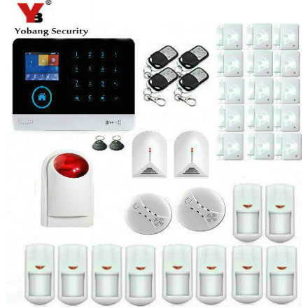 Yobang Security Wireless SIM GSM Home RFID Burglar Security LCD Touch Keyboard WIFI GSM Alarm System Sensor Kit