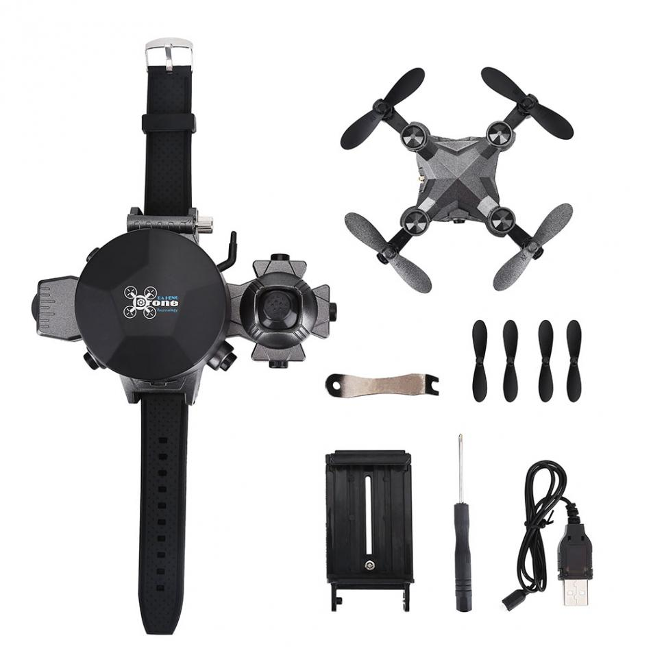 Foldable RC Quadcopter Watch Style Remote Control Drone Wifi FPV with 0.3MP Camera