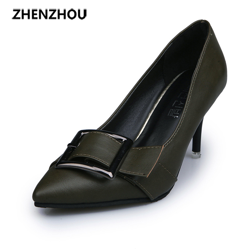 Free shiping shoes Woman 2017 autumn fashion new style thin heels pointed toe Belt fastening single shoes Pure color High heels 2015 autumn korean style pointed shoes with thin heels original glass double peach heart design shoes leather shoes