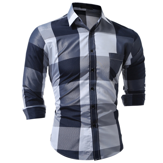 Brand 2017 Fashion Male Shirt Long-Sleeves Tops Fashion Hit Color  Big Plaid Mens Dress Shirts Slim Men Shirt 3XL