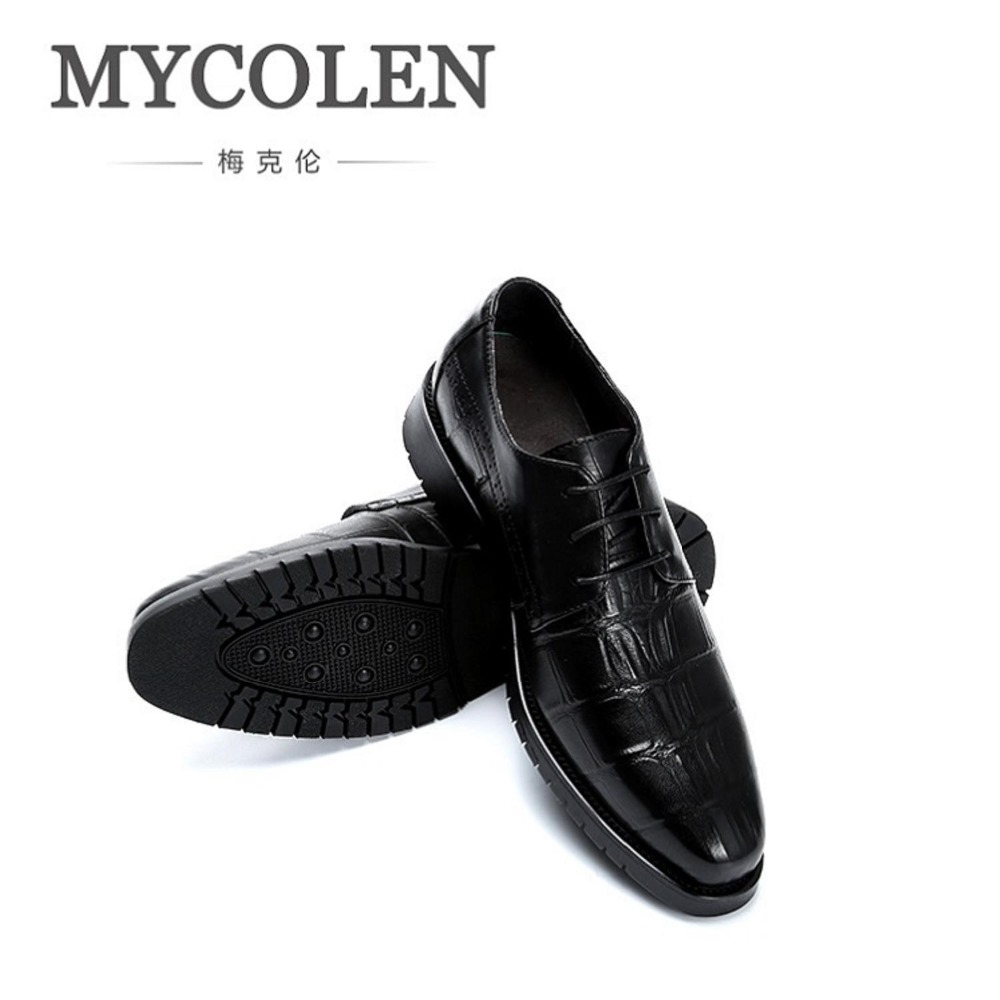 MYCOLEN Spring New Men Shoe Business Genuine Leather Shoes Lace-up Men Classic Wedding Formal Men Office Shoes Chaussures Homme