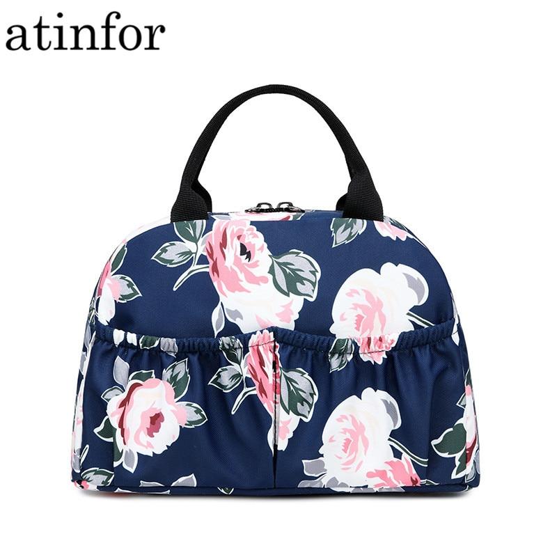 Moda à Prova Bolsa de Alimentos Dwaterproof Água Tecido Feminino Flor Impressão Alta Qualidade Portátil Lancheira Bags Box