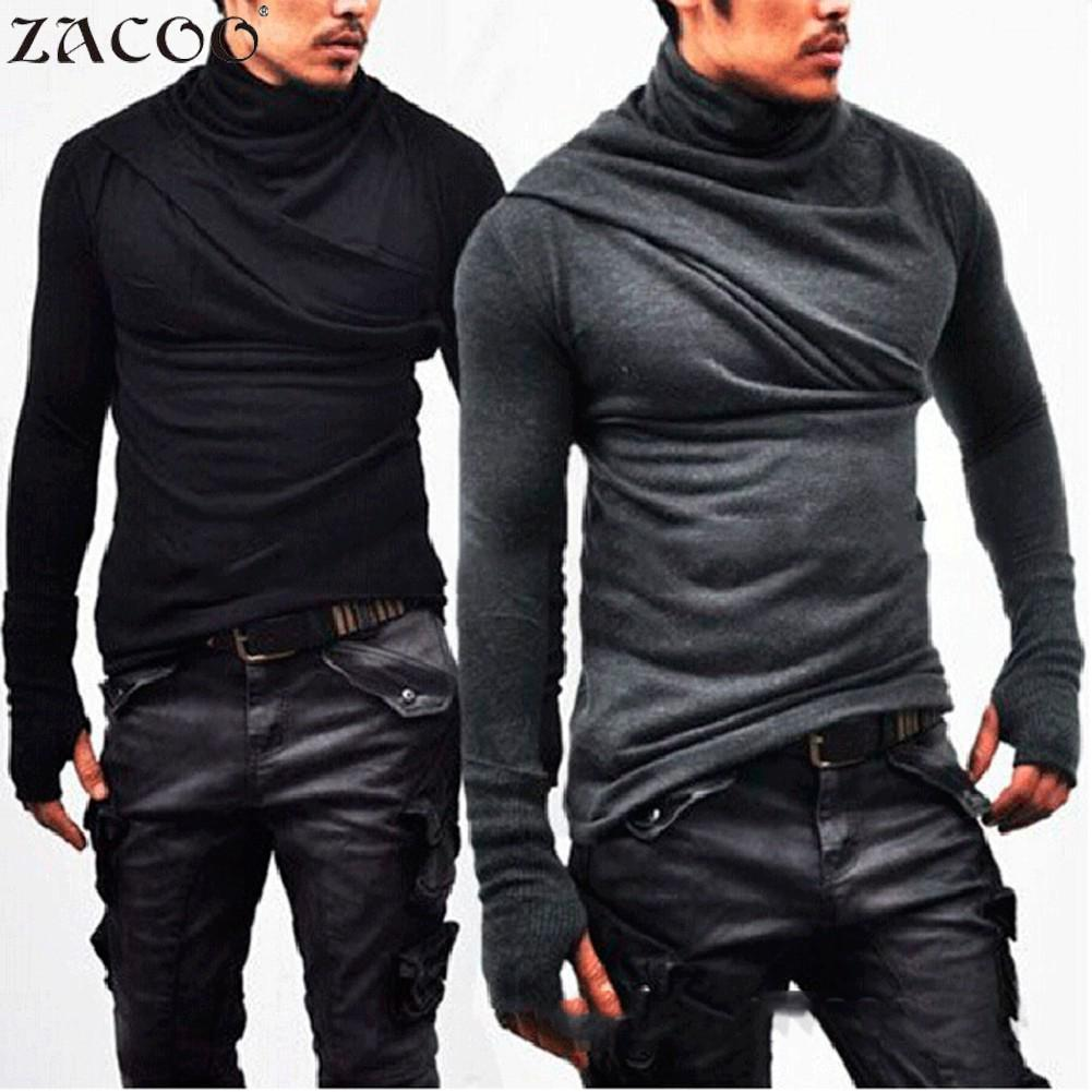 ZACOO Gothic Men Black T shirt Solid Heap Collar Shirt Super Long Sleeve with Gloves Casual Tees Solid Men's Warm Tops san0