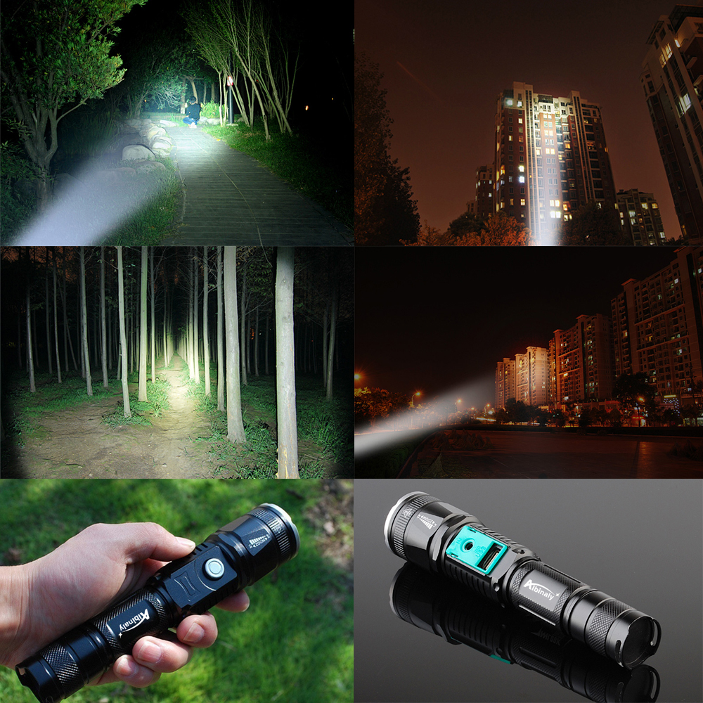Купить с кэшбэком Rechargeable LED flashlight T6 waterproof torch USB interface to charge the phone Zooable 5 lighting modes by 18650