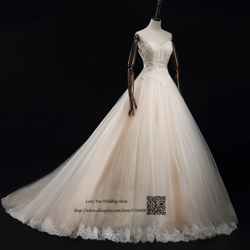 Champagne Color Wedding Dresses Vestidos De Noiva 2017: Real Champagne Vintage Ball Gown Wedding Dresses 2017