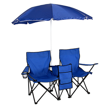 Pesca Silla de Camping portátil Silla de Camping al aire libre 2-asiento  taburete plegable extraíble con paraguas de sol muebles de jardín 88ddbca6d8a