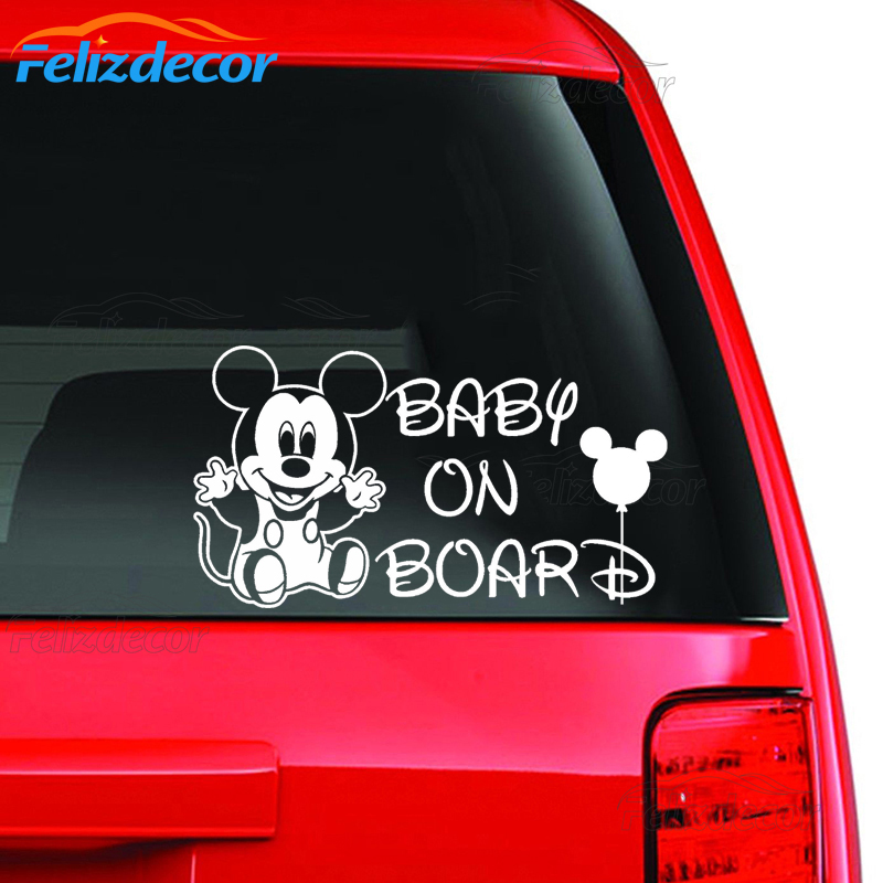 """BABY ON BOARD bumper car Mickey Mouse laptop sticker decal,15cm 6/""""inch long"""