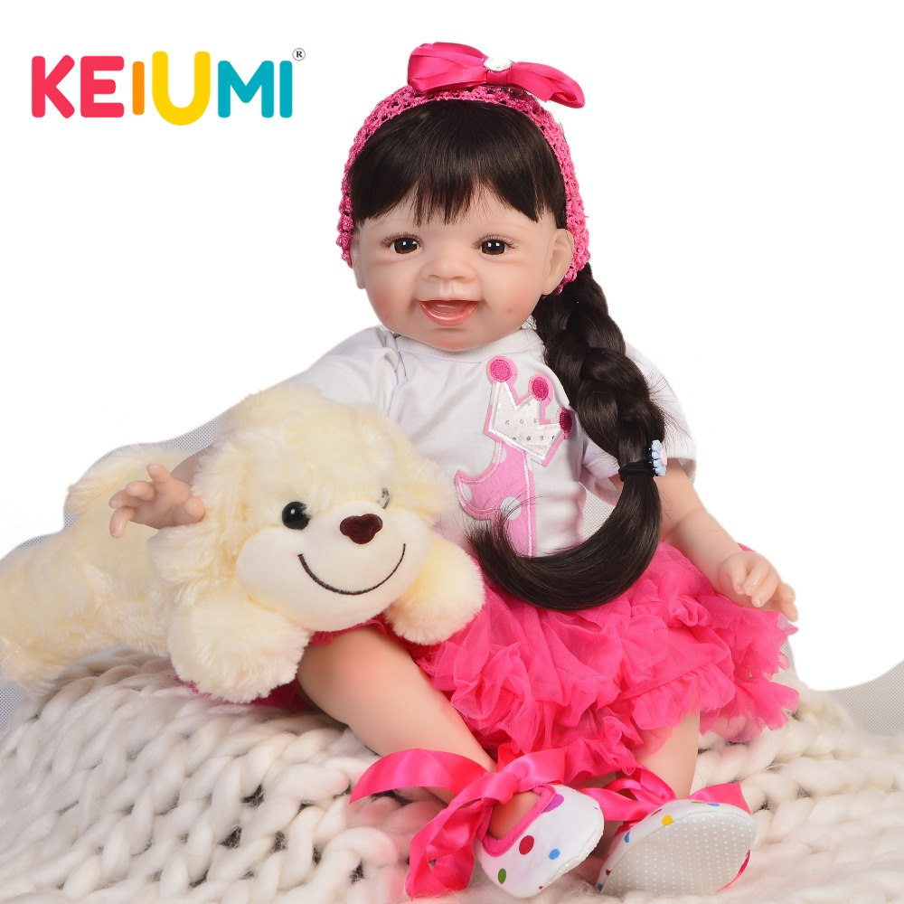 KEIUMI Smile Reborn Baby 55 cm Soft Silicone Body Lifelike Princess Reborn Dolls Babies Girl 22