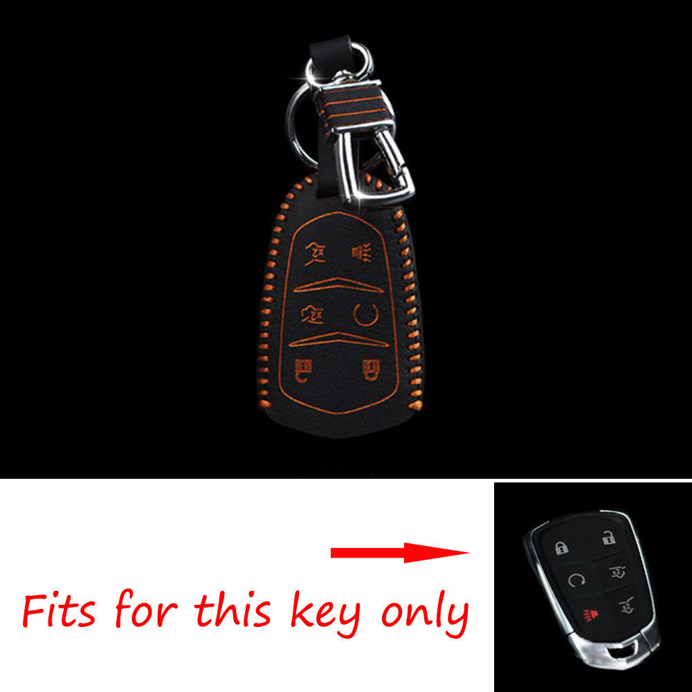 BBQ@FUKA Car Smart Remote Key Case Leather Holder Chain Cover Shell Holder For Cadillac Escalade ATS 6Button Car Styling