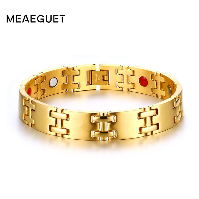 Meaeguet Stainless Steel Men S Hemae Magnetic Health Bracelet Magnet Therapy Bio Cuff Bangles Jewelry