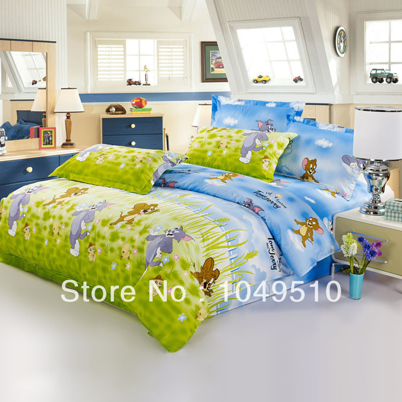 Tom and jerry party printing cheap comforter set bedding for Affordable bedding sets