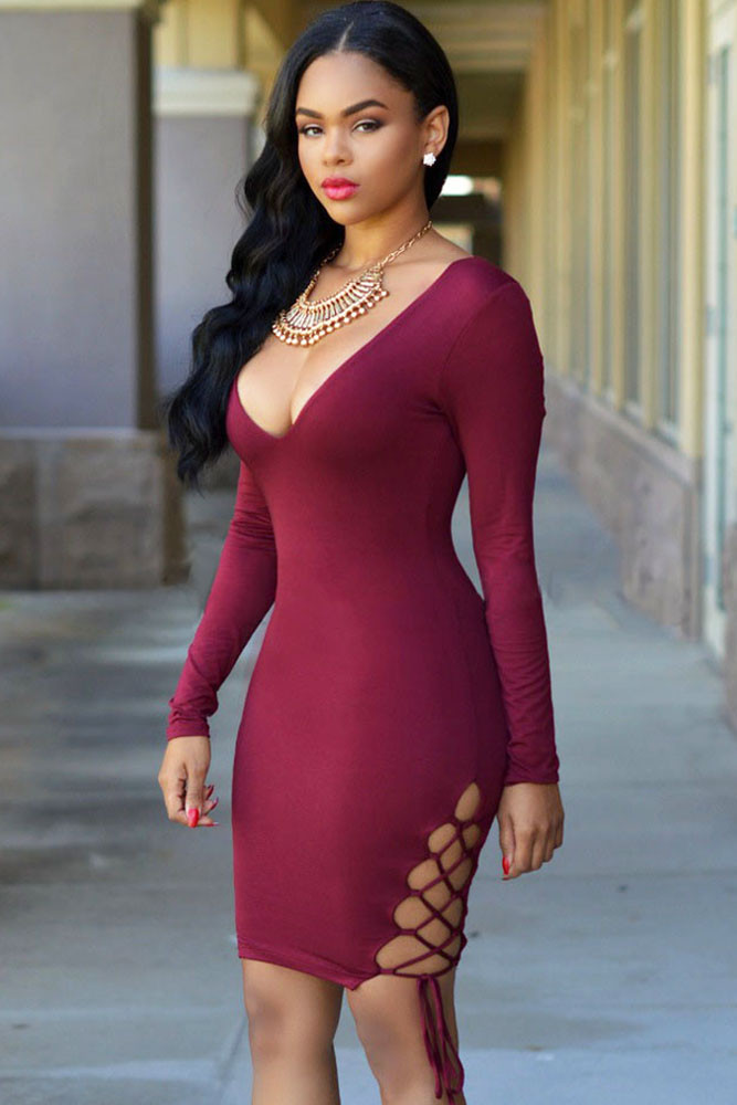 68650ab6d2a4b Deep Plunge Midi Dress Burgundy Sexy V Neck Lace Up Sides Bodycon Dress  women dress free shipping lady dress long sleeve