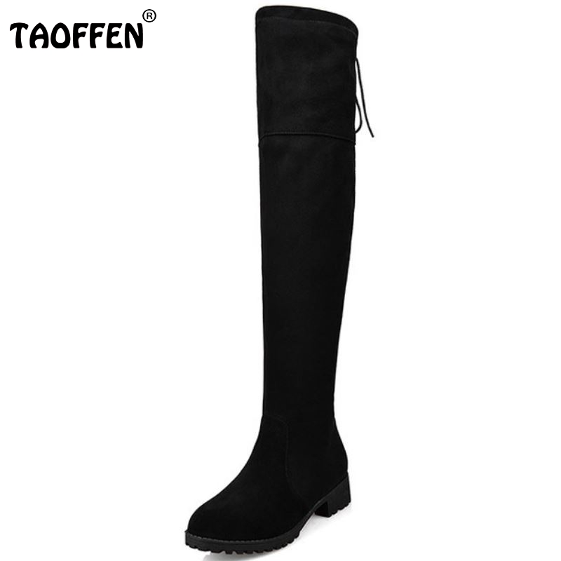ФОТО Autumn Luxurious Over Knee High Boots Nubuck Round Toe Side Zipper Flat Warm Riding Women Boots Ladies Shoes Size 33-42