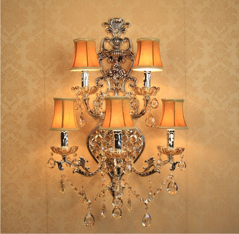 Free Shipping Large Crystal Wall Lamps 5 Light Antique