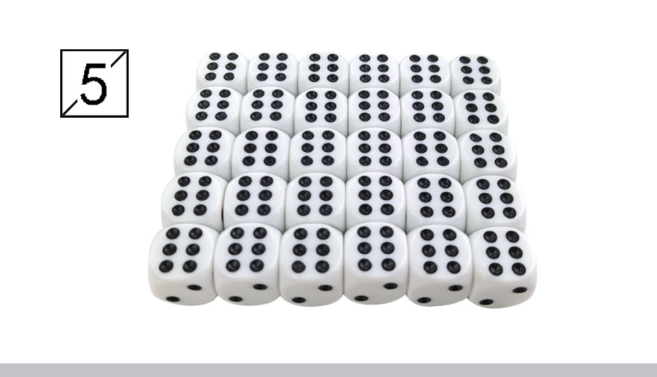 Yernea High-quality 30PcsLot 16mm Dice Set White Black Point Drinking Dice Acrylic White Round Corner D6 Points Dice Club Party (6)