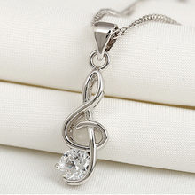 New Silver Plated Violin Key Music Note Pendant Crystal Strass Necklaces(China)