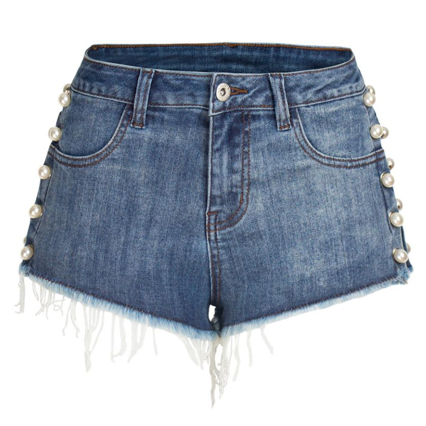 2019 Summer Fashion Women High Waist Jeans Shorts Pearl Rivet Washed Denim Shorts Plus Size 3XL!