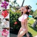 Mulheres das Meninas Das Senhoras Estilo Havaí Praia Férias Branco Orquídea Flores De Noiva Cabelo Pin Grampo de Cabelo Branco