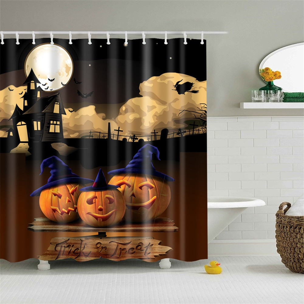 FS5 Happy Halloween Waterproof Polyester Fabric Shower Curtain sep14