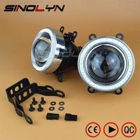 SINOLYN Waterproof Angel Eyes Fog Light HID Lamp Car Projector Lens Bixenon Bifocal Driving Lamps Universal