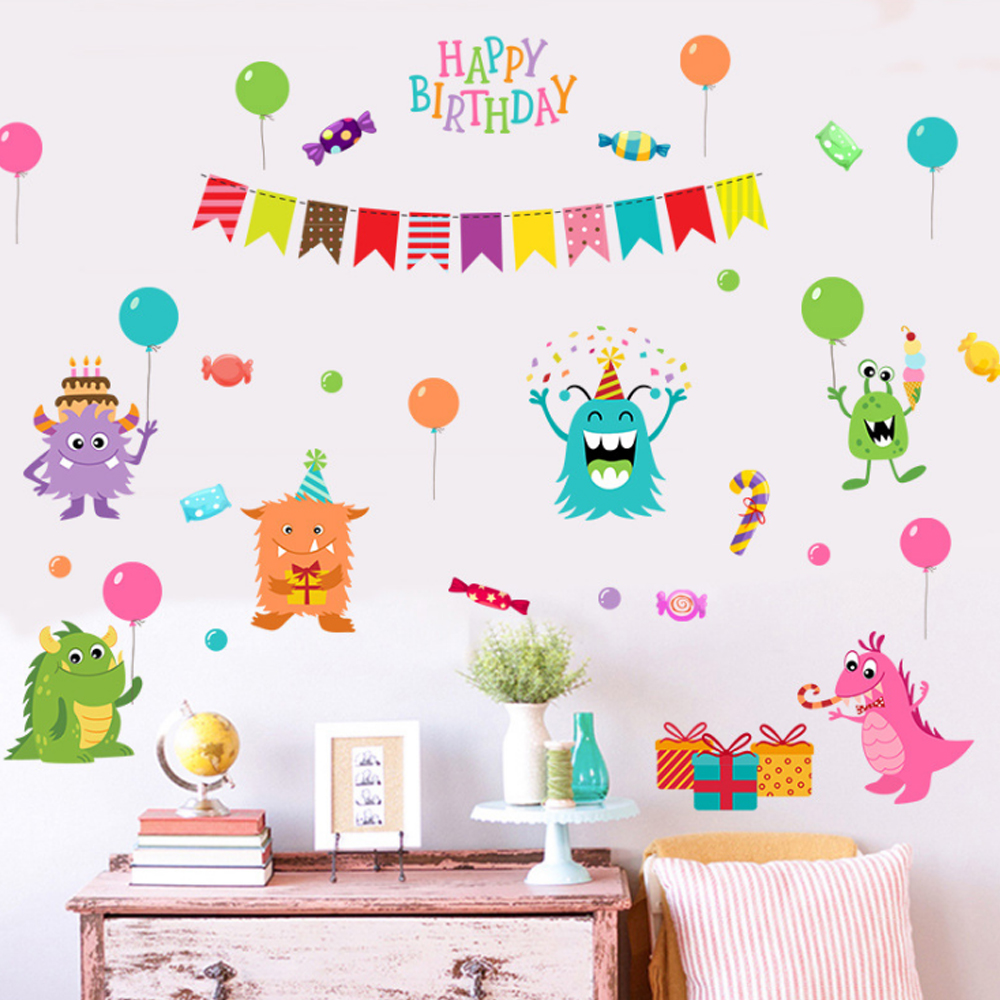 Animals Happy Birthday Balloons Wall Sticker Paper Home Decal Art