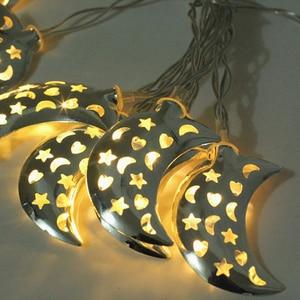 Image 4 - Islamic Eid Ramadan Decor 10/20 LED String Light Golden moon Star Home Decoration Lantern For Islam Muslim Party Decor Gift