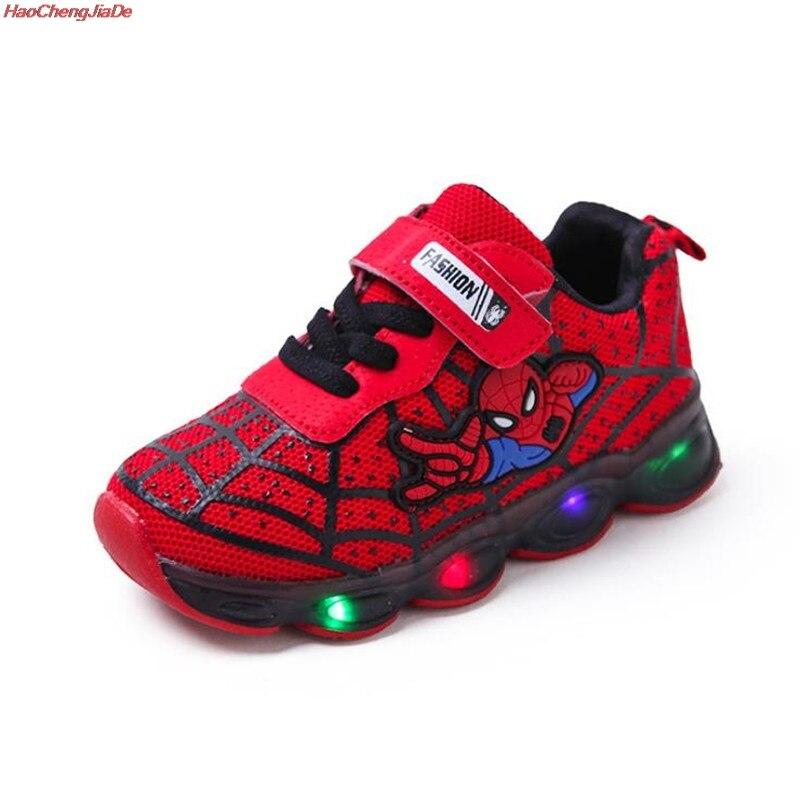 HaoChengJiaDe Cartoon Boys Spider-Man Shoes Child Luminous Sneakers Brand Mesh Footwear Kids LED Flashing Shoes Baby Casual Shoe
