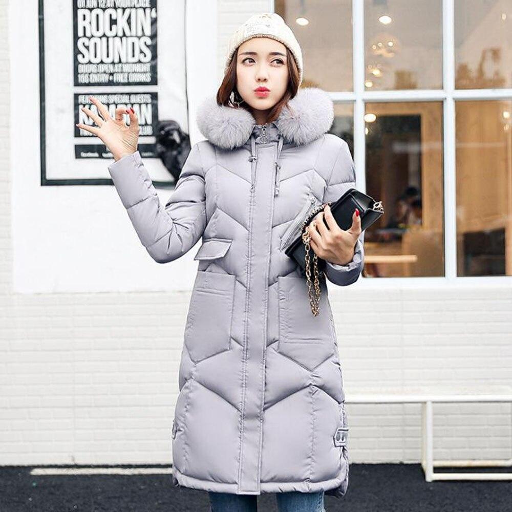 JKKUCOCO Newest Winter Jacket Women Fashion Solid Color Zipper Parka Coat Long Hooded Duck Down Jacket