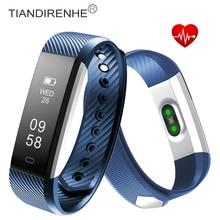 Tiandirenhe фитнес-трекер id115 hr монитор сердечного ритма смарт-браслет activity monitor группа будильник браслет для xiaomi