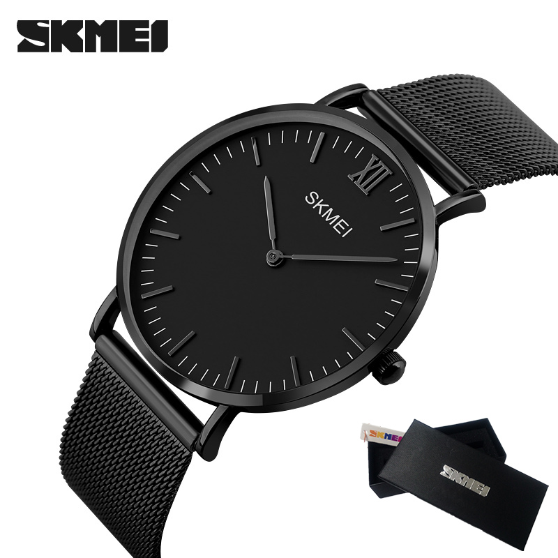 SKMEI New Top Luxury Watch Men Brand Men's Watches Ultra Thin Stainless Steel Mesh Band Quartz Wristwatch Fashion Male watches top brand julius men watches luxury stainless steel mesh band gold watch man business quartz watch male wristwatch relogio homme