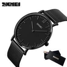 SKMEI Nouveau Haut De Luxe Montre Hommes de Marque Hommes Montres Ultra Mince En Acier Inoxydable Maille Bande Quartz Montre-Bracelet De Mode casual montres