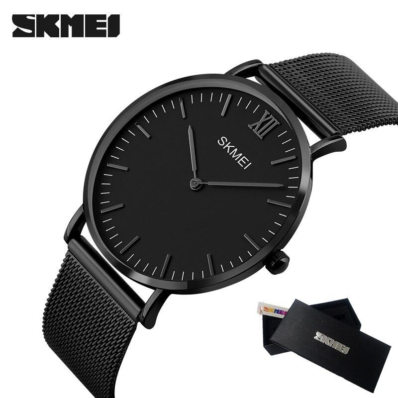 SKMEI New Top Luxury Watch Men Brand Men's Watches Ultra Thin Stainless Steel Mesh Band Quartz Wristwatch Fashion Male watches