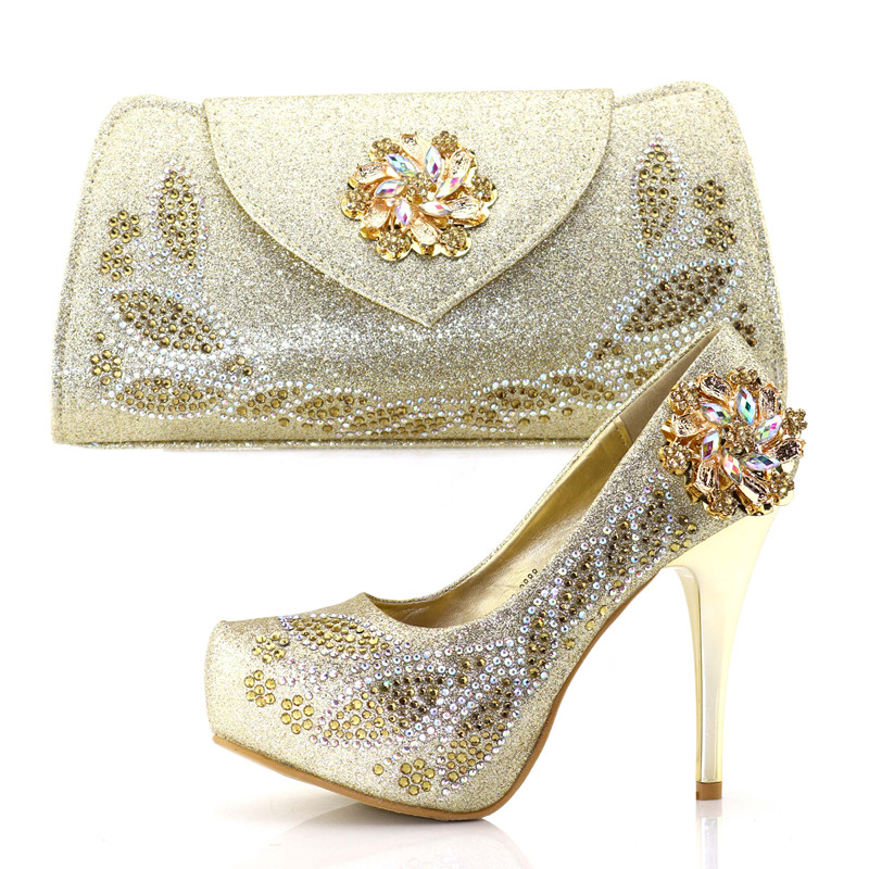 2018 italian shoes and bag to match african aso ebi 4.7 inches high heel gold shoes and bag set with many rhinestones SB8178-3