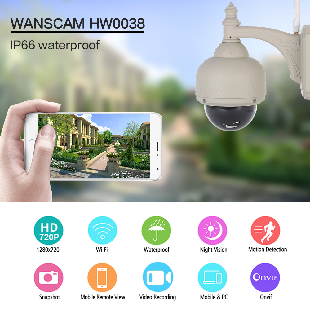 Wanscam HW0038 1.0MP WiFi IP Camera 720P Motion Detection Waterproof Surveillance Camera For Android/IOS Device with 22pcs LEDs детская игрушка new wifi ios