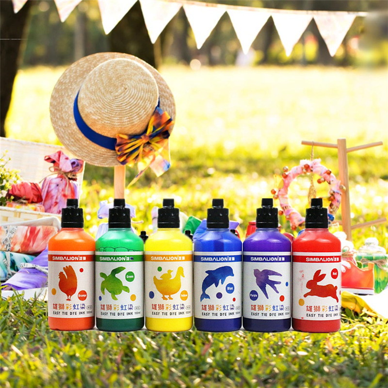 Simbalion  Stationery set rainbow paint with a textile fabric pigment tie dyeing manual paper material can DIY 6 color dye eco friendly dyeing of silk with natural dye