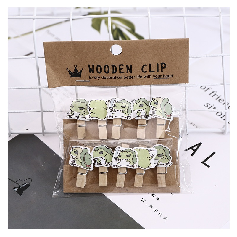 10 Pcs/Set Cute Kawaii Frog Travel Wooden Clip Photo Paper Clothespin Craft Clips Party Decoration Clip With Hemp Rope