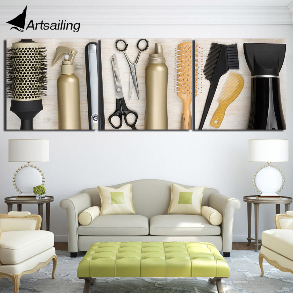 Aliexpress Com Buy Free Shipping 3 Piece Wall Decor: Aliexpress.com : Buy 3 Piece Printed Hairdressing Tools