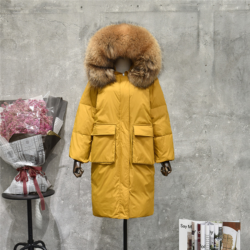 Women's Winter Warm Long White Duck Down Jackets Thicken Real Raccoon Fur Collar Hooded   Parka   Female Natural Fur Outerwear Coat