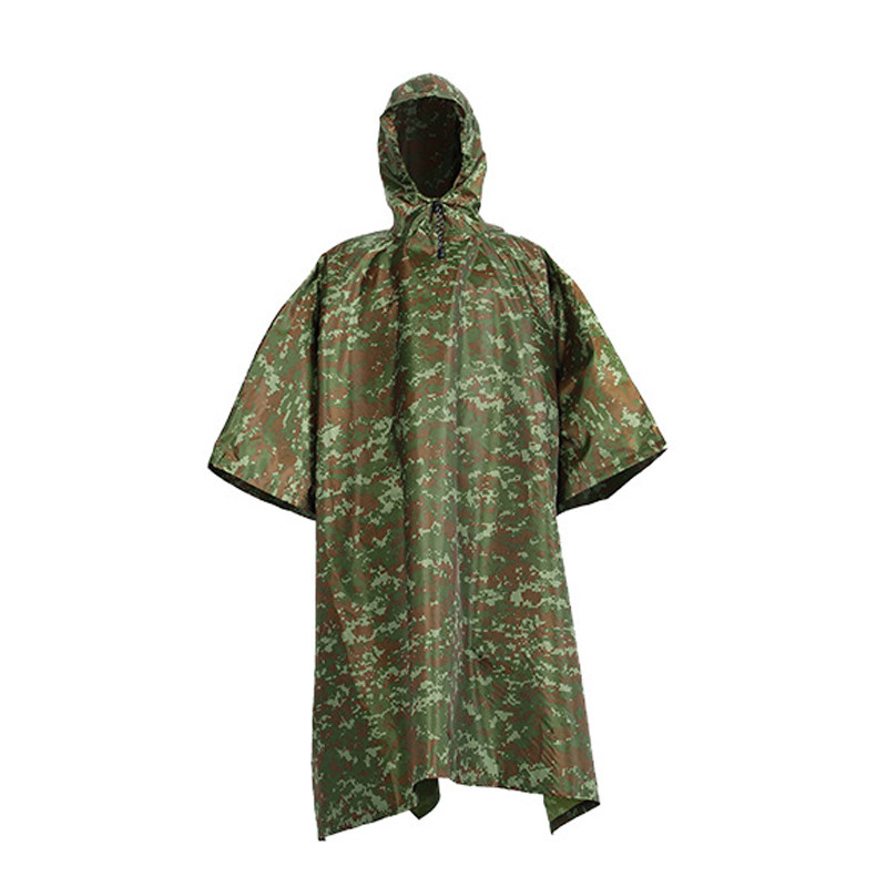 Camouflage Waterproof Army Hooded Ripstop Festival Rain Poncho Military Camping Hiking Tool