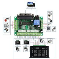5 Axis CNC Interface Adapter Breakout Board For Stepper Motor Driver Mach3 USB Cable Mach3 CNC