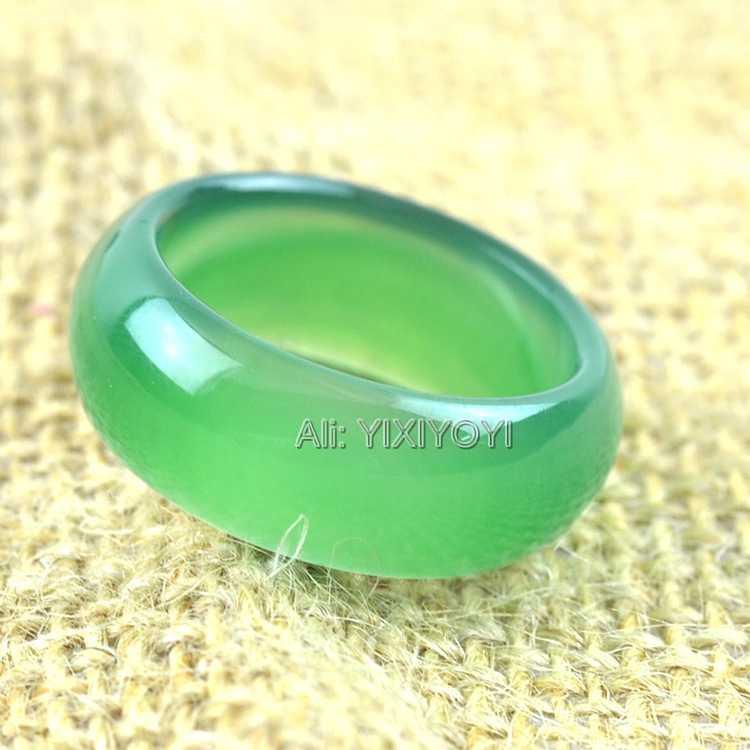สวยงาม 12 มม.ธรรมชาติสีเขียวสีแดงสีเหลืองสีขาวหยกแหวนผู้หญิงผู้ชาย Lucky แหวน 9-10 # Charm เครื่องประดับของขวัญ