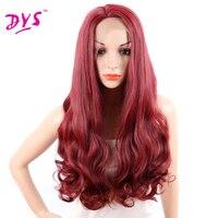 Deyngs Długie Ciało Fala Red Syntetyczny Pełna Peruki Syntetyczne Koronki Przodu Peruk Z Naturalnych włosów Fryzura African American Kobiet