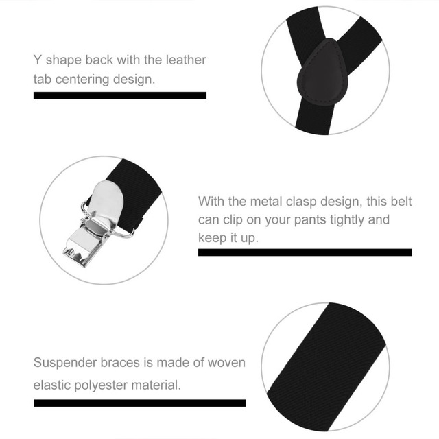 Adjustable Elasticated Adult Suspender Straps Y Shape Clip-on Men's Suspenders 3 Clip Pants Braces For Women Belt Straps 4