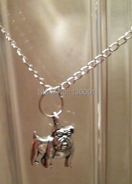 Vintage Silver Bulldog Dog Cow Skull Musical Note KARMA DUMBBE Arrow Crescent Necklaces Pendants Choker Necklace Jewelry Q112