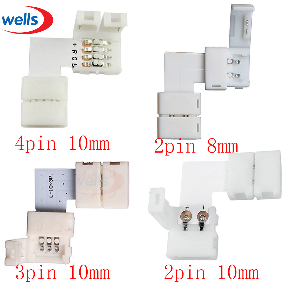 Newest 5-10set LShape LED Connector 2pin 3pin 4pin For connecting corner right angle 8mm 10mm 2811 2812 3528 5050 RGB LED Strip 5pcs 2pin 4pin 5pin led strip connector for 8mm 10mm 12mm 3528 5050 5630 rgb rgbw ip20 non waterproof led strip to strip joint