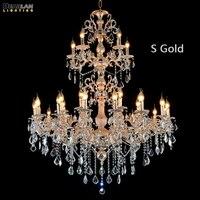 Большой проект люстра лампа современный роскошный кристалл освещение светильники 3 яруса 29 оружия Люстра для холле отеля Ресторан