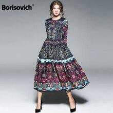Borisovich New Arrival 2018 Spring Fashion Vintage Print National Style Elegant Women Casual Dresses Hot Sale Female Dress M290
